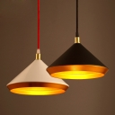 Satin Black/White Finish One Bulb Conical Shade Ceiling Pendant Light Fixture in Industrial Style