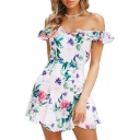 Floral Printed Off The Shoulder Short Sleeve Ruffle Detail Mini A-Line Dress