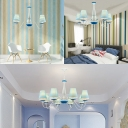 Mediterranean Stripes Island Chandelier Kids Room Fabric 3/5/8 Lights Ceiling Fixture in White