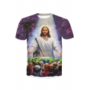 3D God Printed Round Neck Short Sleeve Tee