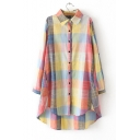 Fashionable Plaid Print Button Down Long Sleeve High Low Hem Tunic Shirt