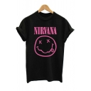 NIRVANA Letter Smile Face Printed Round Neck Short Sleeve Unisex Tee