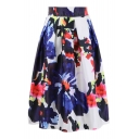 Retro Floral Printed Elastic Waist Midi A-Line Skirt