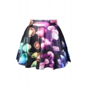 Jellyfish Printed Elastic Waist Mini A-Line Skirt