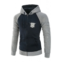 Shield Embroidered Color Block Long Sleeve Zip Up Hoodie