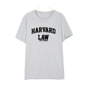 HARVARD LAW Letter Printed Round Neck Short Sleeve Tee