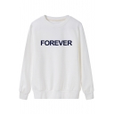 FOREVER Letter Printed Round Neck Long Sleeve Sweatshirt