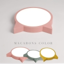 Cat Shape Ceiling Flush Mount Macaron Green/Pink/Yellow Acrylic LED Ceiling Light for Girl