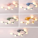 Swirl Arm Multi Light Chandelier Contemporary Macaron Glass Hanging Chandelier for Children