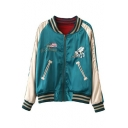 Letter Animal Embroidered Stand Up Collar Color Block Long Sleeve Zip Up Reversible Baseball Jacket