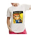 Letter Cartoon Cat Printed Round Neck Short Sleeve Graphic Tee