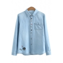 Cat Embroidered Lapel Collar Button Down Long Sleeve Denim Shirt