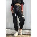 Letter Printed Drawstring Waist Contrast Paneled Loose Pants
