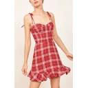Classic Plaid Printed Spaghetti Straps Sleeveless Ruffle Hem Mini Cami Dress