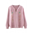 Floral Embroidered Zip Up Long Sleeve Cardigan