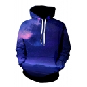 3D Long Sleeve Galaxy Printed Leisure Hoodie