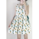 Chic Pineapple Printed Round Neck Sleeveless Drawstring Waist Mini A-Line Dress