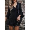 V Neck Long Sleeve Plain Ruffle Detail Mini A-Line Dress