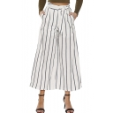 Chic Tie Waist Striped Printed Loose Wide Leg Crop Pants