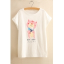 Cat FOR YOU Letter Printed Round Neck Short Sleeve Tee