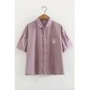 Rabbit Embroidered Pocket Button Down Lapel Collar Short Sleeve Shirt