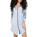 Leisure Letter Printed Asymmetric Hem Long Sleeve Zip Up Tunic Hoodie