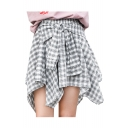 Knotted Front Plaid Printed High Waist Mini Asymmetrical Skirt