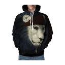 Chic 3D Lion Printed Long Sleeve Leisure Oversize Hoodie