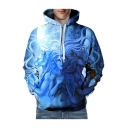 Digital Lion Character Printed Long Sleeve Loose Hoodie