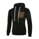 PU Faux Pocket Patch Long Sleeve Slim Hoodie