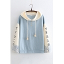 Color Block Japanese Embroidered Long Sleeve Loose Hoodie