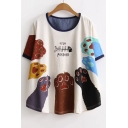 FISH Letter Paw Printed Round Neck Short Sleeve Loose Tee