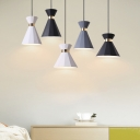 White/Grey/Black Finish Mini Single Light Hanging Lamp for Bedroom Dining Room