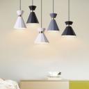 White/Grey/Black Finish Mini Single Light Hanging Lamp for Bedroom Dining Room