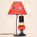 Red Coolie Shade Table Light with British Soldiers Cartoon Fabric 1 Bulb Reading Light