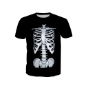 3D Skeleton Printed Round Neck Short Sleeve Tee