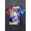 Fancy Galaxy Hourglass Printed Round Neck Short Sleeve Tee