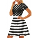 Star Striped Printed Round Neck Short Sleeve Mini A-Line Dress