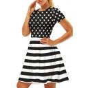 Star Striped Printed Round Neck Short Sleeve Mini A-Line Dress
