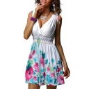V Neck Sleeveless Floral Printed Elastic Waist Mini A-Line Dress