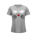 Cartoon Glasses Cat Printed Round Neck Short Sleeve Leisure Tee