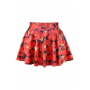 Elastic Waist Strawberry Printed Mini A-Line Skirt