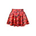 Elastic Waist Strawberry Printed Mini A-Line Skirt
