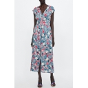 Floral Printed V Neck Short Sleeve Button Embellished Split Front Maxi A-Line Dress