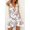 Ruffle Detail V Neck Sleeveless Floral Printed Mini Asymmetric Dress