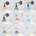 Cone Shade Wall Light Modern Macaron Metal 1 Head LED Wall Sconce with Antler Decoration