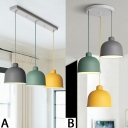 Minimalist Colorful Dome Lighting Fixture Metallic 3 Light Ceiling Pendant Light for Living Room