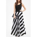Color Block Round Neck Sleeveless Striped Printed Maxi A-Line Dress