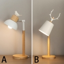 Adjustible White Dome/Coolie Shade 1 Light Task Lamp with Bird/Antler in Wood