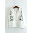 Cute Mouse Embroidered Pocket Long Sleeve Button Down Hooded Coat